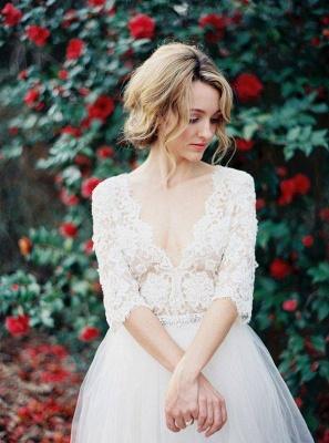 V-Neck Half Sleeve Lace Summer Wedding Dress Elegant Tulle  A-Line Bridal Gowns_1