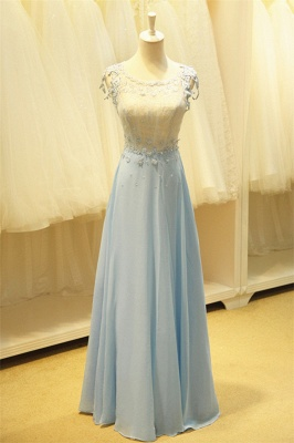 Baby Blue Evening Dresses with Flowers Lace Appliques Pretty Long Prom Gowns with Pearls_4