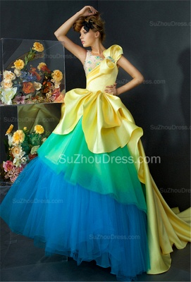 Satin Tiered Quinceanera Dresses  Sweep Train Crystal Prom Gowns With Beadings_4