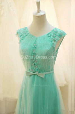 A Line Elegant Tulle Lace Long Prom Dresses with Flowers Formal Affordable Zipper Bowknot Dresses for Juniors_3