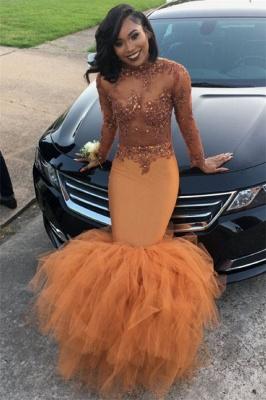Dust Orange Long Sleeve Mermaid Prom Dress |  Beads Appliques Evening Gown FB0305_2