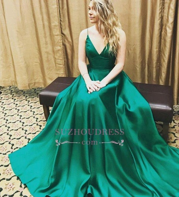 V-Neck Spaghetti Strap Prom Gowns  Beautiful Formal Evening Dress_1