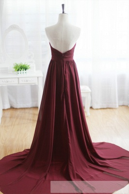 Maroon Prom Dress  Sweetheart Beads Wine Red Evening Gown with Long Train_3