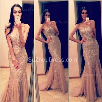 Strapless Mermaid Tulle Long Evening Dress Sexy Beadings Trumpet Formal Occasion Dresses for Women_2