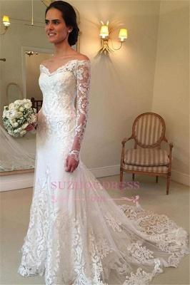Sheath Long-Sleeve Lace Off-the-shoulder Court-Train V-neck Wedding Dresses_2