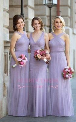 Tulle Halter-Neck Elegant Ruched Lavender Long Bridesmaid Dresses_1