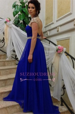 Short-Sleeves A-Line Royal-Blue High-Neck Beadings Prom Dress_5