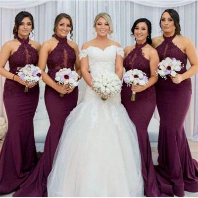Maroon Halter Appliques Bridesmaid Dresses   Mermaid Sleeveless Wedding Party Dress_3