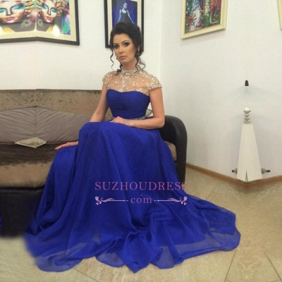Short-Sleeves A-Line Royal-Blue High-Neck Beadings Prom Dress_1