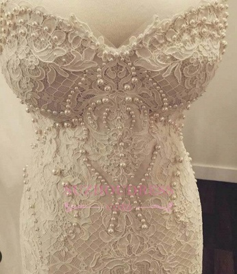 Pearls Sweetheart Gorgeous Zipper Mermaid Lace Wedding Dress_4