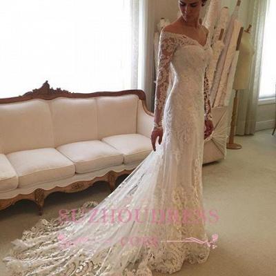 Sheath Long-Sleeve Lace Off-the-shoulder Court-Train V-neck Wedding Dresses_6