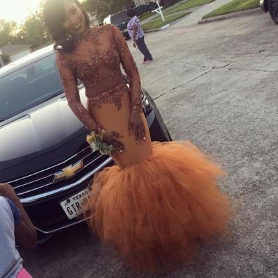 Dust Orange Long Sleeve Mermaid Prom Dress |  Beads Appliques Evening Gown FB0305_3