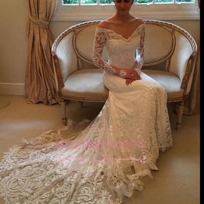 Sheath Long-Sleeve Lace Off-the-shoulder Court-Train V-neck Wedding Dresses_5
