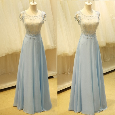 Baby Blue Evening Dresses with Flowers Lace Appliques Pretty Long Prom Gowns with Pearls_3
