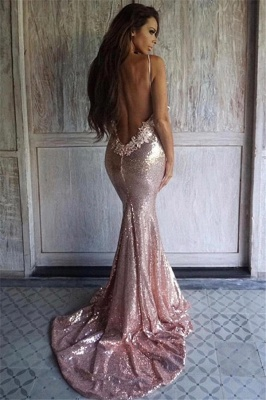 Sexy Pink Sequined Mermaid Evening Dresses |  Backless Spaghetti Straps Party Dress_3
