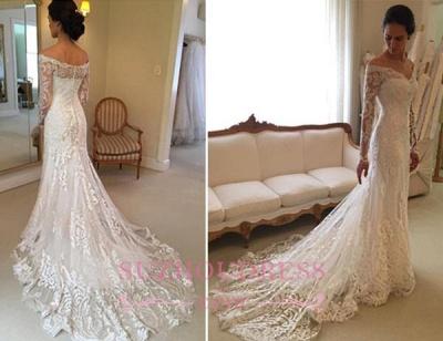 Sheath Long-Sleeve Lace Off-the-shoulder Court-Train V-neck Wedding Dresses_4