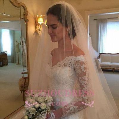 Sheath Long-Sleeve Lace Off-the-shoulder Court-Train V-neck Wedding Dresses_1