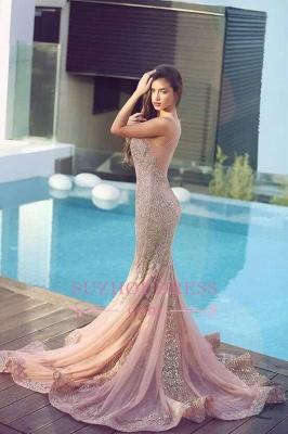 Mermaid Sequins  Formal Dress Pink Sparkling Sheer Sleeveless Jewel Gorgeous Evening Dress MH086_3