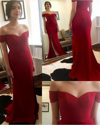 Red Off The Shoulder Prom Dresses   Evening Dress for Bridesmaid with Split BA3543_1