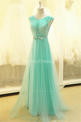 A Line Elegant Tulle Lace Long Prom Dresses with Flowers Formal Affordable Zipper Bowknot Dresses for Juniors_2