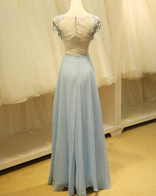 Baby Blue Evening Dresses with Flowers Lace Appliques Pretty Long Prom Gowns with Pearls_2
