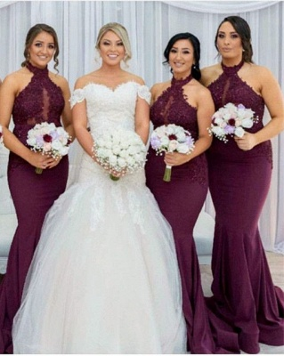 Maroon Halter Appliques Bridesmaid Dresses   Mermaid Sleeveless Wedding Party Dress_1