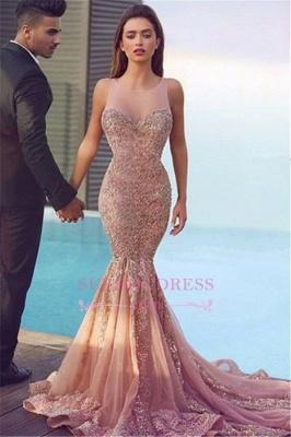Mermaid Sequins  Formal Dress Pink Sparkling Sheer Sleeveless Jewel Gorgeous Evening Dress MH086_2