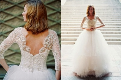Gorgeous White Tulle Crystal Bridal Gown with Beadings Latest Zipper Floor Length Wedding Dress_3