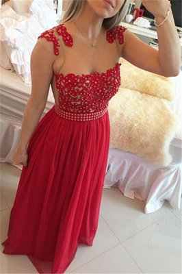 New Arrival Lace Chiffon Prom Dresses  with Beadings Sheer Neck Capped Sleeves Long Evening Gowns BMT010_4