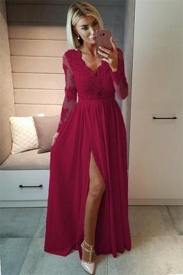 Sexy Split Long Sleeve Evening Dress  Black Lace V-neck  Prom Dresses FB0191_5