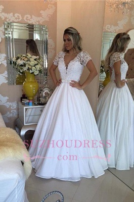 Lace Short Sleeves Evening Dress V-Neck White Crystal Bowknot Prom Dress_4