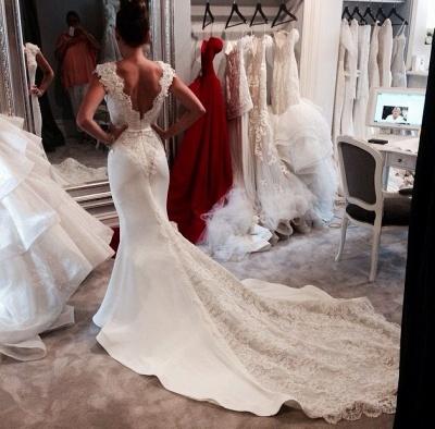 Vintage Mermaid Chapel Train Wedding Dresses Sleeveless V-neck Elegant Bridal Gowns_3