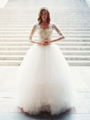 Gorgeous White Tulle Crystal Bridal Gown with Beadings Latest Zipper Floor Length Wedding Dress_1