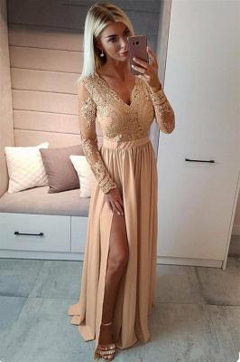 Sexy Split Long Sleeve Evening Dress  Black Lace V-neck  Prom Dresses FB0191_4
