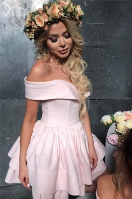 Off The Shoulder Pink Short Homecoming Dresses Lovely Mini Formal Party Dress_4