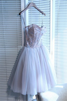 Sweetheart-neck Short Applique Lace Tulle Cute Homecoming Dress_1