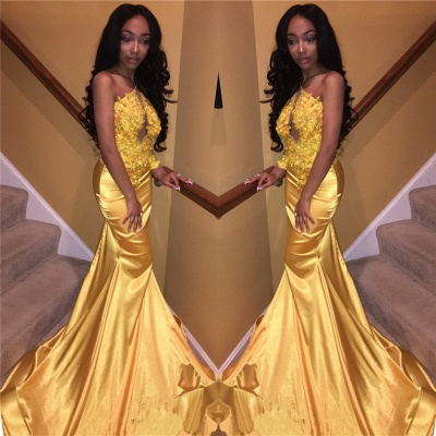Daffodil One Sleeve Sexy Prom Dress    Mermaid Lace Appliques  Evening Gown FB0306_3