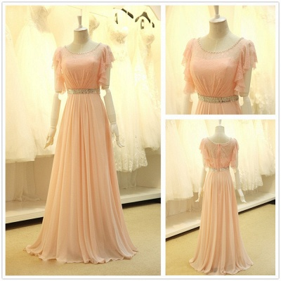 Pink Lace Sparkly Crystal Sash Cute Long Prom Dresses with Unique Sleeve Pretty  Popular Evening Gowns_2