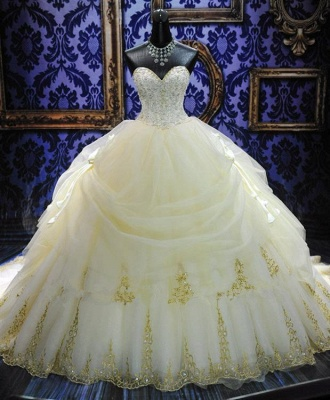 Elegant White Sweetheart Crystal Ball Gown Wedding Dress Court Train Bowknot Bridal Gowns with Beadings_4