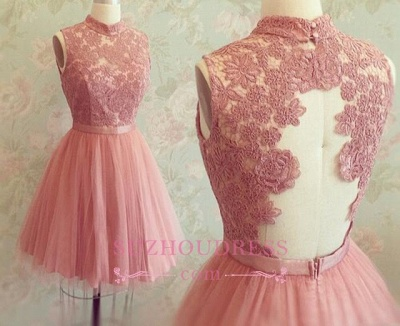 Sleeveless Mini Newest High-Neck Appliques Lace Homecoming Dress_3