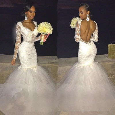 Sexy Backless Long-Sleeve Bridal Gowns    Lace Mermaid Wedding Dress_3