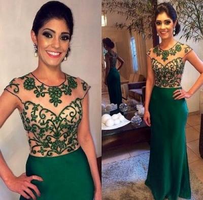 Dark Green Floor Length Beading Evening Dress Gorgeous Scoop Neckline  Prom Dress BA7965_3