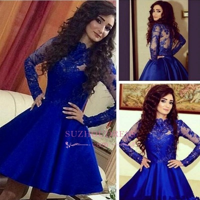 Short A-Line Lace Long Sleeve Short Party Dress Cute  Royal Blue Homecoming Dresses BA3800_1