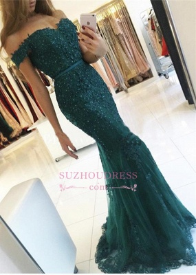 Dark Green Charming Mermaid Evening Gowns Off-the-Shoulder Lace Appliques  Prom Dress AN0_3