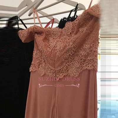Beading Lace Sheath  Long Sexy Off-the-shoulder Spandex Pink Evening Dresses BA4148_3