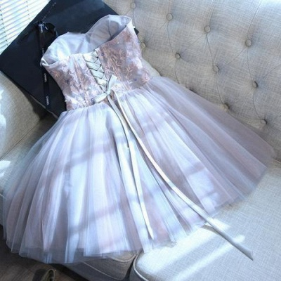 Sweetheart-neck Short Applique Lace Tulle Cute Homecoming Dress_5