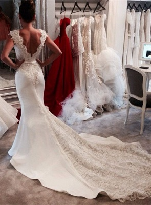 Vintage Mermaid Chapel Train Wedding Dresses Sleeveless V-neck Elegant Bridal Gowns_1