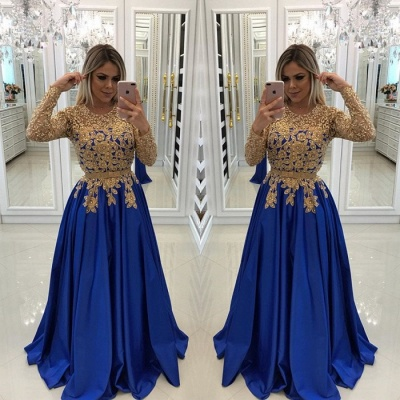 Modern Royal Blue & Gold Lace Evening Dress | Long Sleeve Party Gown_3