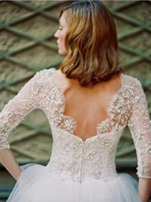 Gorgeous White Tulle Crystal Bridal Gown with Beadings Latest Zipper Floor Length Wedding Dress_2