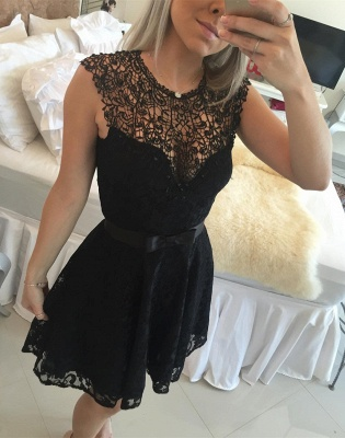 Gorgeous Black Lace Short Little Party Dress Illusion Sleeveless  Homecoming Dresses_1